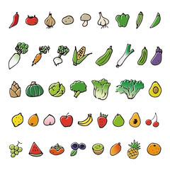 手描きの野菜と果物スケッチイラスト
