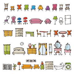 手描きのかわいい家具イラスト