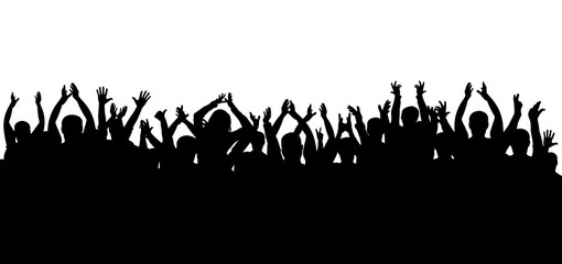 Crowd of applause at the concert isolated silhouette