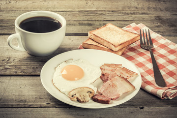 Delicious Breakfast with Eggs and bacon, vntage photo