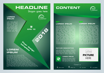 Vector flyer, corporate business, annual report, brochure design and cover presentation with green arrow