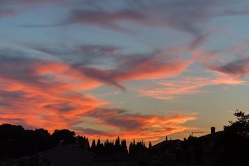 Beautiful sunset over dramatic sky
