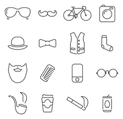 Hipster Culture & Fashion Icons Thin Line Vector Illustration Set