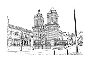 Sketch of Church and Convent of San Francisco, California, USA in vector illustration.