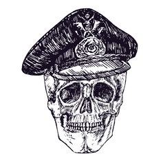 Skull in German military hat, hand drawn doodle, sketch in woodcut style, black and white vector illustration
