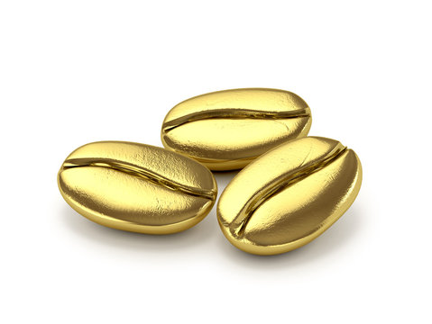 Gold coffee beans on a white background. 3d illustration