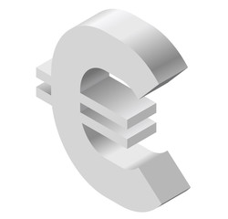 Euro logo in isometric perspective. Modern symbol, cryptocurrency in minimalist gray stylization. Graphic icon of European Union currency, internet investing. Three dimensional symbol, buck mark.