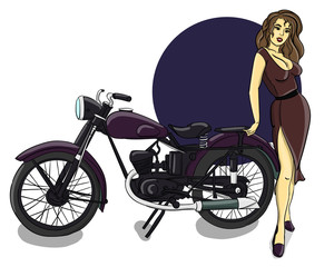 A blonde girl dressed in a brown dress stands next to a purple motorcycle eps 10 illustration
