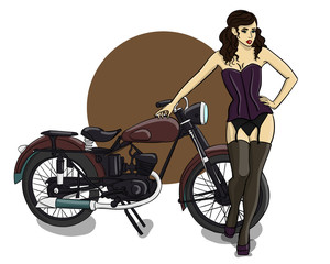 A girl with brown curly hair dressed in a purple corset, gray underwear and stockings stands next to a brown motorcycle eps 10 illustration