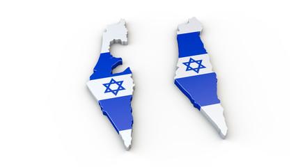 Israel - 3D Karte mit Umriss oder Kontur mit Grenzen