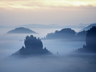 Misty view into beautiful valley of Saxony Switzerland. Sandstone peaks increased from heavy fog.