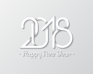 Plexus of numbers 2018 with Happy New Year text for greeting card design.
