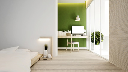 bedroom and workplace on green tone in home or apartment - Interior design - 3D Rendering