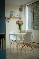 Table and chair in kitchen at home