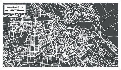 Amsterdam Holland Map in Retro Style.