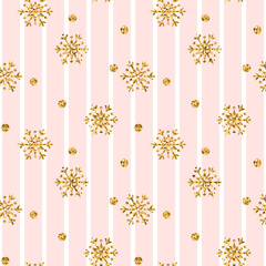 Christmas gold snowflake seamless pattern. Golden glitter snowflakes on pink white lines background. Winter snow texture design wallpaper Symbol holiday, New Year celebration Vector illustration