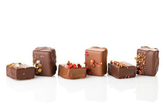 Set of luxury handmade chocolate bonbons