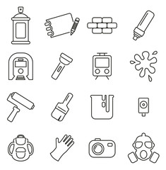 Graffiti Art or Street Art Culture & Equipment Icons Thin Line Vector Illustration Set