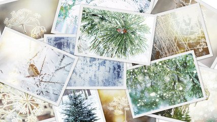 Winter photo collage. Selective focus.