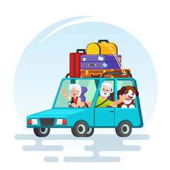 travel in old age concept. Elderly couple baggage, car and dog going on journey. Grandparents summer vacation. Picture for agency ad, recreation retired Vector colorful illustration in flat style