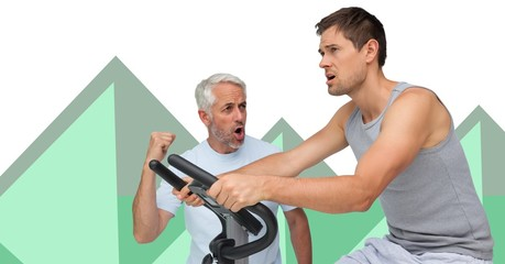 Fitness trainer men with minimal shapes and exercise machine