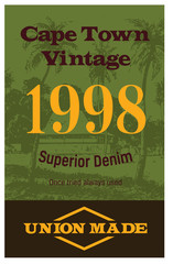 Cape town vintage clothing tag, for retail business, denim or other product.