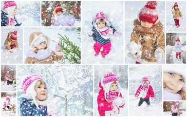 Collage children winter photo. Selective focus.