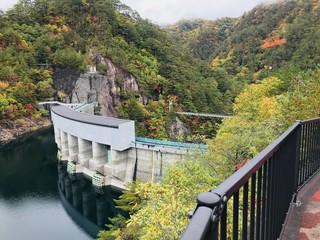 Kawamata Dam and Suspension bridge at Setoai-kyo canyon in Tochigi prefecture of Japan.