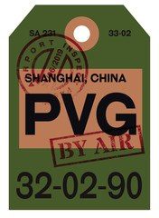 Shanghai airline tag design. Realistic looking buggage tag.