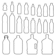 Bottles outline icon set