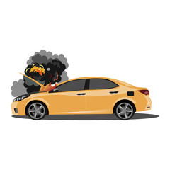 The broken car is covered with fire and smoke.
