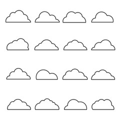 Cloud line icon set