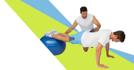 Fitness trainer man with minimal shapes