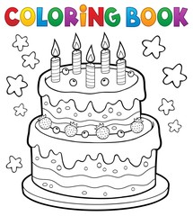Printed roller blinds For Kids Coloring book cake with 5 candles
