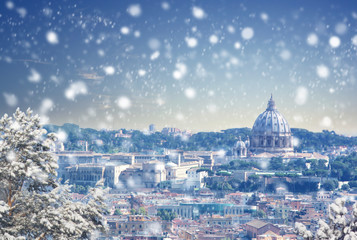 Stores à enrouleur Rome Christmas background : Aerial view of Rome cityscape at winter sunset in Italy. Vintage colored picture. X-mas, Business, Love and travel concept