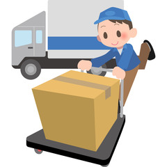 台車で荷物を運ぶ配達員