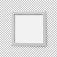 Realistic square empty picture frame. Blank white picture frame mockup template. Vector illustration.