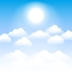 Sky with clouds and sun. Vector illustration.