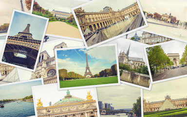 Collage France Paris. Selective focus.
