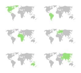 6x Weltkarte mit Markierung von Kontinenten