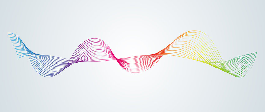 Abstract smooth curved lines Design element Technological background with a line in the form of a wave Stylization of a digital equalizer Smooth flowing wavy stripes of a rainbow made by blends Vector