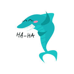 Cute laughing shark cartoon character, funny blue fish vector Illustration