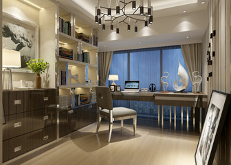 3d render of luxury office and working room