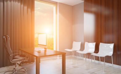 Modern office Cabinet. Meeting room. 3D rendering. Sunset