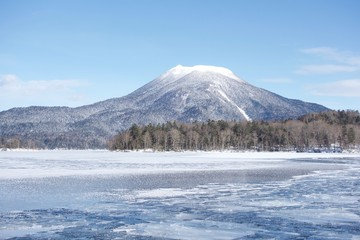 Frozen Lake Akan, Hokkaido. Lake Akan was born from the eruption of a volcano. It is surrounded by Mount Meakan and Mount Oakan