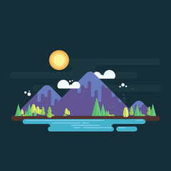Mountain range with trees on horizon and lake on foreground. Simple flat design illustration