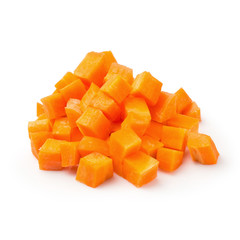 Chopped carrot slices isolated on a white background