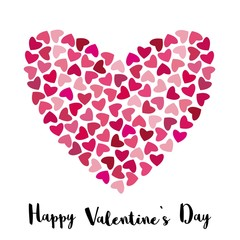 Valentine's day card. Romantic background with hearts. Vector Valentine's day background.