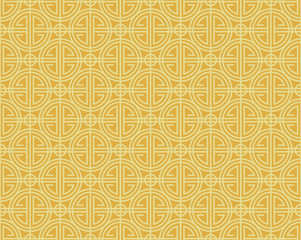 Yellow gold chinese line border circle art pattern seamless vector design