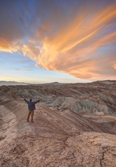 Man with outstretched arms, Anza-Borrego Desert State Park, California, America, USA